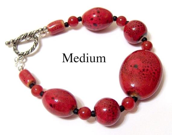 Brick Red Pottery Bead and Black Toho Seed Bead Bracelet Featuring Carnelian and a Big Oval Focal Bead MEDIUM
