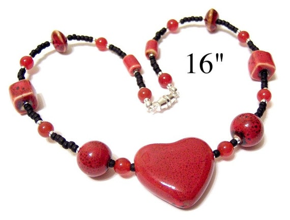 Brick Red Pottery Bead and Black Toho Seed Bead Choker Necklace Featuring Carnelian and a Big Heart Focal Bead 16 INCH