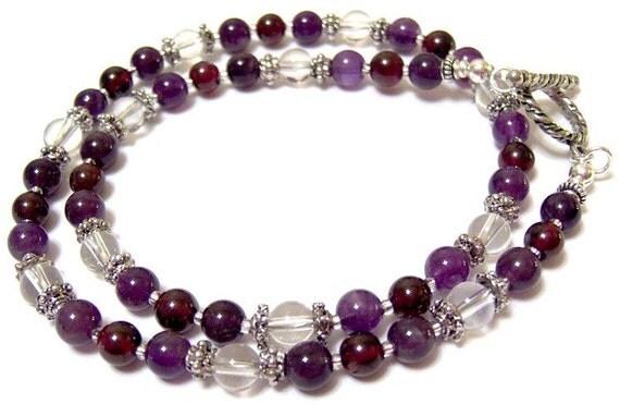 "Concorde Grape Amethyst Crystal Quartz and Garnet Choker Necklace 16"""