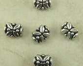 5 TierraCast Leaf Beads > Bali Style Ornate Floral - Silver Plated Lead Free Pewter - I ship Internationally - 5572