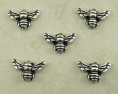 5 TierraCast Honeybee Honey Bee Beads > Bumble Insect Garden Flower - Fine Silver Plated LEAD FREE pewter - I ship Internationally 5519