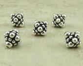 5 TierraCast Ornate Pamada Bali Style Bicone Beads - Silver Plated Lead Free pewter - I ship internationally 5677
