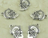 5 TierraCast Guitaro Skeleton Playing Guitar Charms > Day of Dead Sugar Skull - Silver Plated Lead Free Pewter - International Ship  2318