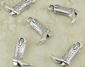 5 TierraCast Western Cowboy Boot Charms > Rodeo Ranch Cowgirl Texas - Lead Free Silver Plated Pewter - I ship internationally 2267