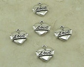 5 TierraCast Love Heart Tattoo Charms > Valentines Day Wedding Bride - Silver Plated Lead Free Pewter - I ship Internationally 2302