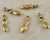 5 TierraCast Spiral Goddess Charms > Celtic Devine Feminine Mother - 22kt Gold Plated LEAD FREE Pewter - I ship Internationally 2163