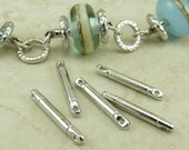 5 TierraCast 3/4 inch Bead Bar Link with holes on both ends > Silver Colored Rhodium Finish - I ship Internationally - 3105