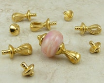 4 Sets TierraCast Nouveau Bails Glue In With Caps > Lampwork or Large Hole Beads - 22kt gold plated Lead Free Pewter I ship Internationally
