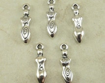 5 TierraCast Spiral Goddess Charms > Devine Feminine Mother - Silver Plated LEAD FREE Pewter - I ship Internationally 2163
