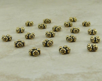 20 TierraCast Four Flowers Daisy Spacer Beads  > Floral Daisy Bride Love - 22kt Gold Plated Lead Free pewter - I ship Internationally 5675