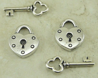 2 Pair TierraCast Heart Lock and Key Charms Mix Pack > Valentine Love Steampunk - Silver Plated Lead Free Pewter - I ship Internationally