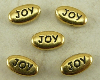 5 TierraCast JOY Word Beads > Christmas Happiness -  22kt GoldPlated LEAD FREE Pewter - I ship Internationally