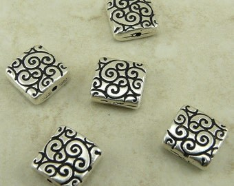 5 TierraCast Ornate Square Scroll Beads > Spiral Swirl - Silver Plated Lead Free Pewter - I ship Internationally 5673