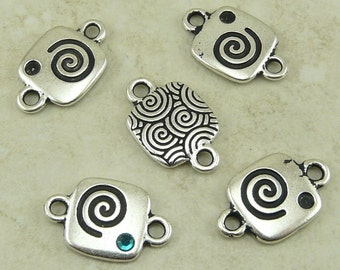 5 TierraCast Spiral Swirl Glue In Link Connector - Silver Plated Lead-Free Pewter - I ship Internationally 3103