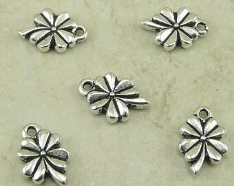 5 TierraCast 4 Leaf Clover Shamrock Charms > St Patricks Day Lucky Irish Garden - Silver Plated lead free pewter I ship Internationally 2219