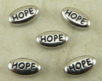 5 TierraCast HOPE Word Beads > Sentiment Peace - Rhodium Silver Plated Lead Free Pewter - I ship Internationally 5639