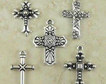 5 TierraCast Large Cross Charms Mix Pack > Catholic Christian Gothic Rosary - Silver Plated Lead Free Pewter - I ship Internationally