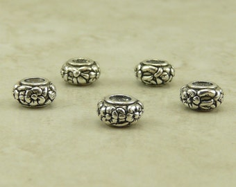 5 TierraCast Meadow Flower Spacer Beads > Floral Garden Botanical Wedding Bride - Silver Plated LEAD FREE Pewter I ship Internationally 5647