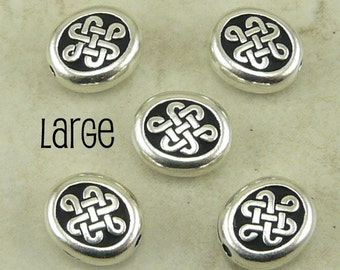 5 TierraCast Large Endless Celtic Knot Bead > Irish St Patrick's Day - Fine silver plated Lead Free Pewter - I ship Internationally 5542