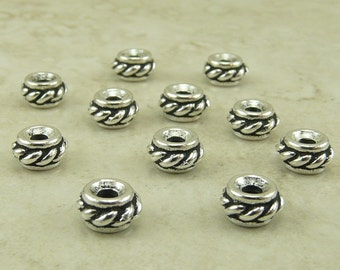 10 TierraCast Twisted Rope Spacer Beads > Western Bali Style - Silver Plated LEAD FREE Pewter - I ship Internationally 5607