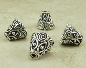 4 TierraCast Ornate Spiral Cone Bead Caps >  Celtic Zen Doodle Swirl - Fine Silver Plated LEAD FREE pewter - I ship internationally 5641