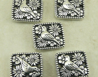 5 TierraCast Paloma Bird Flower Links > Fine Silver Plated Lead Free Pewter - I ship Internationally 3129