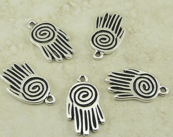5 TierraCast Spiral Hand Charm - Silver Plated Lead Free Pewter  - I ship internationally 2051