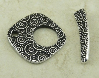 1 TierraCast Large Spiral Toggle Clasp > Swirl Celtic Tribal Zen Doodle Tangle -  Silver Plated LEAD FREE Pewter - 6145