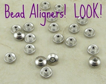 20 TierraCast Bead 6mm Classic Bead Aligner Bead Caps > Large Hole Lampwork - Rhodium Plated Lead Free Pewter - I ship Internationally 5719