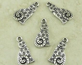TierraCast Laurel Burch Spiral Cat Charms > Kitty Feline Meow Zen Doodle - Silver Plated Lead Free Pewter - I ship Internationally 2164