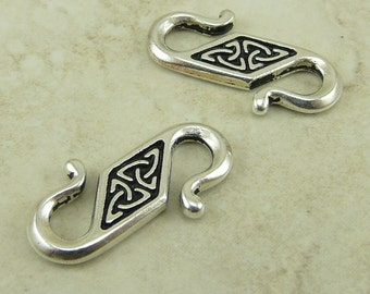 2 TierraCast Celtic Knot S Hook Clasps > Irish St Patricks Day Triquetra Triad Silver Plated Lead Free Pewter - I ship Internationally 6032