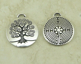1 Labyrinth and 1 Tree Of Life Pendant Mix Pack > Zen Buddhist Peace Path - Tierra Cast Silver pated Lead Free Pewter I ship Internationally