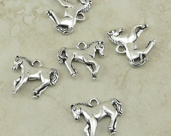 5 TierraCast Horse Charm Yearling > Cowboy Western Equestrian Pony Mustang - Silver Plated Lead Free Pewter - I ship internationally 2272