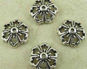 TierraCast Open Poppy Flower Bead Cap - Silver Plated  LEAD FREE pewter - I ship Internationally 5591