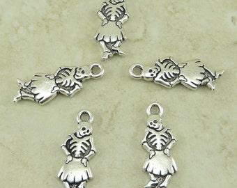 5 TierraCast Dancing Senorita Skeleton Day of the Dead Charms > Silver Plated Lead Free Pewter - I ship Internationally 2317