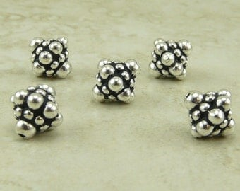 5 TierraCast Ornate Pamada Bali Style Bicone Beads - Silver Plated Lead Free pewter - I ship internationally 5677