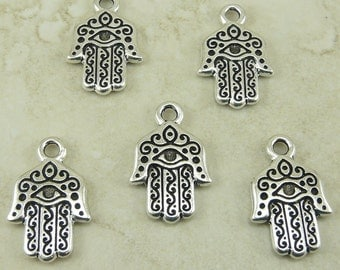 5 TierraCast Hamsa Hand Charms > Peace Love Protection - Fine Silver plated Lead Free Pewter - I ship Internationally 2327