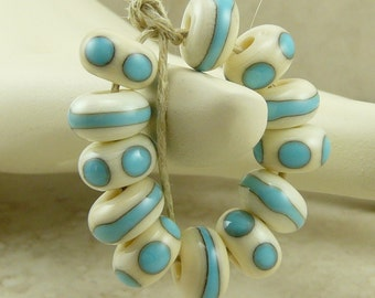 12 Dots N Dashes Ivory and Turquoise Spacers - Western Organic Cowboy Rodeo Native - Lampwork Bead Set - SRA - I ship Internationally