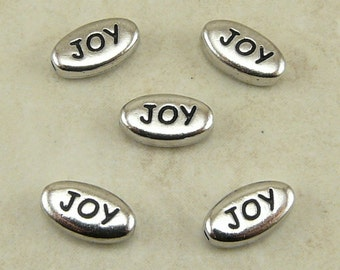 5 TierraCast Joy Word Beads > Happy Christmas Sentiment - Rhodium Silver Plated LEAD FREE Pewter I ship Internationally 5644