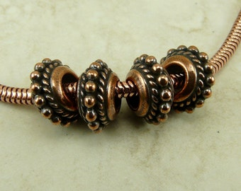 4 TierraCast 11mm Beaded Twist Large Hole Euro Charm Beads > Ornate Exotic Bali Style Copper Plated Lead Free Pewter