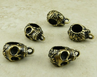 5 TierraCast Rose Skull Bails > Gothic Halloween Goth Scary Floral - Brass Ox plated Lead Free Pewter - I ship internationally 5729