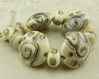 MADE to ORDER - Ancient Swirls - Silvered Ivory Spirals Dots Stripes Artifact - Lampwork Bead Set - SRA - I ship Internationally