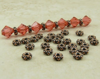 25 TierraCast Tiny Ornate Turkish Spacer Beads > Bali Style Bumpy Beaded - Copper Plated LEAD FREE Pewter - I ship Internationally 0425