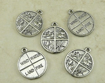 5 Four Elements Pendant Charms > Fire Water Land Air - Raw American Made Lead Free Pewter - I ship internationally