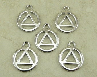 5 TierraCast AA Recovery Serenity Symbol Charms > Rhodium Plated Lead Free Pewter - I ship Internationally 2360