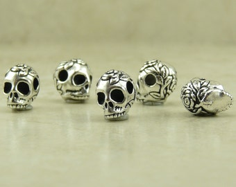 5 TierraCast Horizontal Large Hole Rose Flower Skull Beads >  Fine Silver plated Lead Free Pewter - I ship internationally - 5715