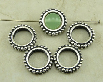 5 TierraCast 8mm Round Circle Beaded Bead Frames > Fine Silver Plated LEAD FREE pewter - I ship internationally 5657