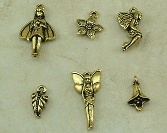 TierraCast Floral Fairy Charm Mix Pack Flower Leaf Fairy Charms * 22kt Gold Plated Lead Free pewter - I ship Internationally