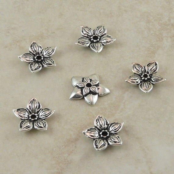 6 TierraCast Star Jasmine Flower Bead Caps > Floral Spring Bride Wedding Garden Silver Plated LEAD FREE pewter - I ship internationally 5587