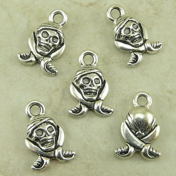 5 TierraCast Pirate Skull & Saber Charms > Black Sails Sky Pirate Caribbean - Silver Plated Lead Free Pewter - I ship Internationally 2285